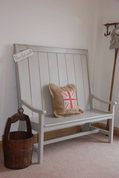 * For Sale * A high-back bench painted with a mix of 'French Linen' and 'Old White ' by Bleu-Clair.com x