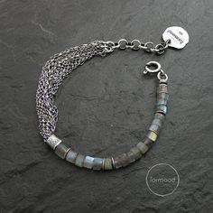 labradorite or sapphire bracelet  sterling silver multi chain