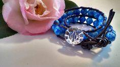 Hielo azul pulsera de abrigo de cuero con perlas de por missy69