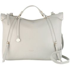 Radley New Cross Large Leather Shoulder Bag , Grey (€275) ❤ liked on Polyvore featuring bags, handbags, shoulder bags, grey, cross body purse, cross body shoulder bag, leather handbags, over the shoulder bag and crossbody purse