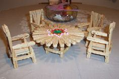 I saw a chair made of clothes pin at a thrift store and just needed to learn how to make them! Fun and easy! Its also good for the little girls and their Barbie dolls. pin crafts Making Doll Furniture from Clothes Pins Fairy Furniture, Barbie Furniture, Dollhouse Furniture, Furniture Ideas, Furniture Making, Furniture Outlet, Furniture Stores, Popsicle Stick Crafts, Craft Stick Crafts
