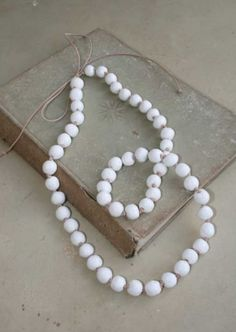 White Bead Necklace by Hellooow Design