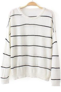 White Long Sleeve Striped Loose Knit Sweater 20.00