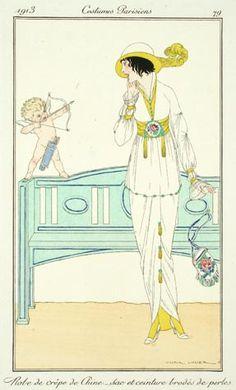 Victor Lhuer (French, fl.1912-1914). Plate 79. Robe de crepe de Chine - Sac et ceinture brodes de perles 1913