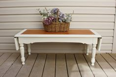 The Black Sheep Shoppe: Farmhouse Style Coffee Table. Old White (Annie Sloan Chalk Paint) and Prairie Wheat stain (General Finishes).