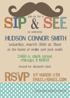 Mustache Sip & See Invitation by TheAvocadoSeed on Etsy, $15.00