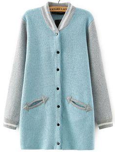 Blue Grey Stand Collar Pockets Knit Cardigan 24.67