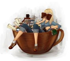 Reading and sipping on coffee or tea.