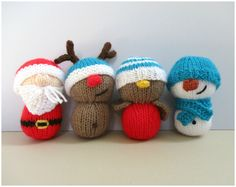 Dinky Christmas toys knitting patterns by fluffandfuzz on Etsy