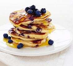 American blueberry pancakes. Light, fluffy and fruity, these pancakes are a US classic. Serve them stacked high with syrup and extra fruit.