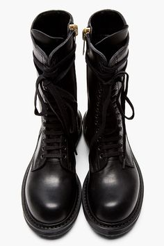 RICK OWENS Black leather zip-up Army Boot