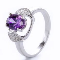 New Original Purple Zircon  925 Silver Topaz Ring Wedding Ring  #Unbranded #Wrap #Anniversarywedding