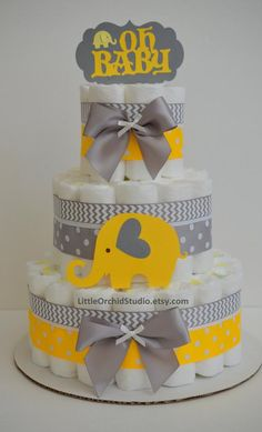 Elephant Diaper Cake, Yellow Gray Elephant Baby Shower, It& a Boy, Centerpiece, Gray Chevron Elephant Shower Decor / Baby Boy / Baby Gifts - Elephant Diaper Cake Yellow Gray Baby Elephant Cadeau Baby Shower, Baby Shower Diapers, Baby Shower Cakes, Baby Boy Shower, Baby Shower Gifts, Baby Shower Decorations For Boys, Baby Shower Centerpieces, Elephant Diaper Cakes, Elephant Gifts