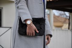 Fur clutch, Michael Kors watch