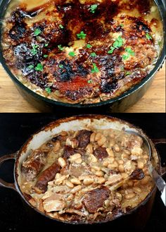 Recipe for Creamy White Bean Stew loaded with 'Fall off the Bone' Chicken, Pork and Sausage. The ultimate soul warming and belly-filling winter comfort food! AKA Cassoulet.