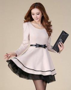 39c3a126831 Fashion womens OL Round collar Bowknot belt slim long sleeve lace Ruffled  dress Beautiful Dresses