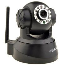 VeevoCam Wireless Pan & Tilt IP/Network Internet Camera, Surveillance Camera, System, Baby Monitor, Pets Monitor, Home Security, Two-Way Audio, Night Vision, Built-in Microphone With Cell Phone remote monitoring, works with: iPhone, iPad Android phone, Blackberry, Samsung & all other smart phones, Email Alert Snapshot