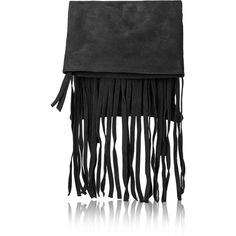 TOPSHOP Mini Suede Trim Fringe Backpack ($47) ❤ liked on Polyvore featuring bags, backpacks, black, black backpack, black leather bag, topshop, leather backpack and leather fringe backpack
