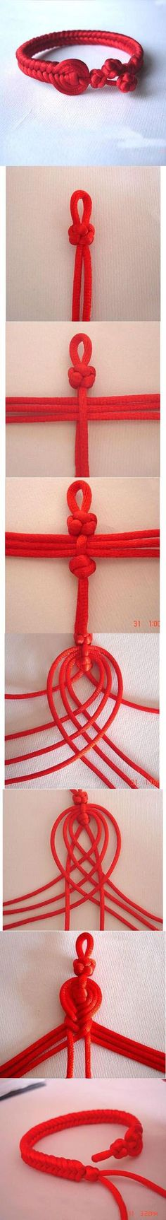 Beautiful Red Bracelet | DIY & Crafts Tutorials (I wonder if you could use para cord?)