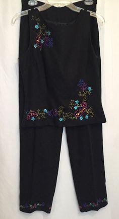 3070b778d77 Dress Barn Women s Pant Suit Size 8 Black Linen Spring And Summer Set Beaded