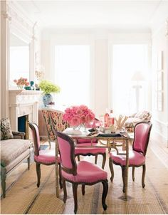 pink chairs for the dining room