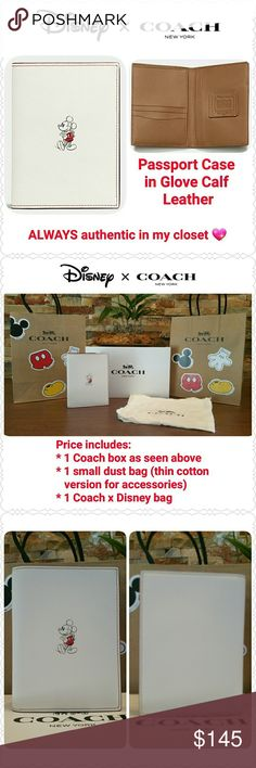 """*FINAL* Coach x Disney Passport Case in Chalk NEW with tag, box, dust bag, Coach x Disney bag  * Limited Edition, sold out in stores! * GUARANTEED  authentic in my closet  * Style F59411, retail $150 * Glove Calf Leather  * Color: Chalk outside, saddle inside  * Only 1 available in Chalk!  * 4 1/8"""" x 5 1/2"""" when closed * Fits U.S. passports, if you have an int'l passport please check dimensions :) * Non-smoking home of Aurora33180  * NO offers, returning if unsold! * Sorry, no trades Coach…"""