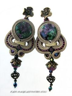 Soutache Ohrringe/soutache earrings / beige/violet/green