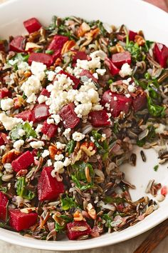 This delicious grain salad is great to have on hand for weekday lunches. Wild rice, beets, toasted pecans and Gorgonzola combine in a sweet maple vinaigrette for a truly satisfying meal. #diabetes #diabetesfriendly #diabetesrecipes #diabetesfriendlyrecipes #diabetesdiet #diabetesfood #recipe #eatingwell #healthy
