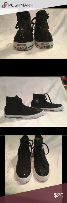 Black Converse Tennis Shoes With Glitter Trim NWOT Zipper up sides Perfect Condition Converse Shoes Athletic Shoes