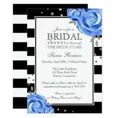 #bridal - #Blue and Silver Watercolor Flowers Bridal Shower Card