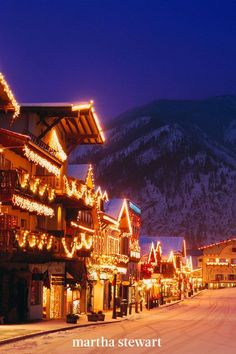 Leavenworth, Washington is as close to a European holiday as you'll get stateside, as it has the same alpine charm as many European towns. During the town's Christmas Lighting Festival, visitors join in activities and watch as it lights up with more than 500,000 Christmas lights. #christmas #holidayideas #christmasideas #wintertodo #marthastewart Christmas Town, Magical Christmas, Christmas Villages, Decorating With Christmas Lights, Holiday Lights, Leavenworth Washington, South Usa, Christmas Destinations, Mission Inn