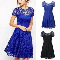 Fashion Women Sexy Floral Lace Short Sleeve Cocktail Evening Party Casual Short Mini Dress Summer Fa