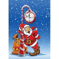 Free Vector Merry Christmas theme Santa Claus with Gift sack under the Clock…