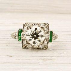 Vintage diamond & emerald ring