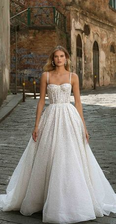 Sparkly Princess Ball Gown Wedding Dress Berta Wedding Dresses Fall 2020 - Napoli Bridal Collection - Belle The Magazine Wedding Dress Trends, Gorgeous Wedding Dress, Fall Wedding Dresses, Bridal Dresses, Modest Wedding, Tulle Wedding, Mermaid Wedding, Princess Ball Gowns, Princess Wedding Dresses