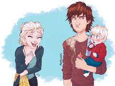Elsa, Hiccup, and Briar. Dreamworks Animation, Disney And Dreamworks, Disney Pixar, Dreamworks Dragons, Jelsa, Crossovers De Disney, Cartoon Crossovers, Disney Dream, Disney Love