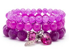 Wristbands & Bracelets – Set bracelets stones  jade purple – a unique product by Blackif on DaWanda