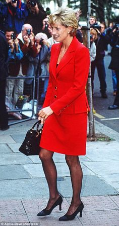 This impeccably cut pillar-box red suit is a fabulous example of Catherine Walker — Diana'...