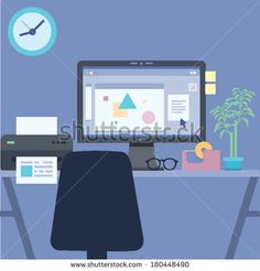 Flat Design Vector Illustration Personal Workspace Night Time at the office with Desktop Computer Vector Illustration of workplace with minimalistic modern style - stock vector