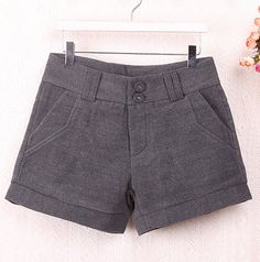 Vintage Mid-Waisted Slimming Solid Color Pocket Design Women's Shorts - women shorts Summer Shorts Outfits, Shorts Outfits Women, Outfits Casual, Short Outfits, Formal Shorts, Casual Shorts, Women's Shorts, Girls Fashion Clothes, Clothes For Women
