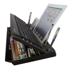 Having a hard/frustrating time typing into those pads/tablets smart phones? Now we have the answer, 6 Functionalities include – The world's only 6 in ONE Bluetooth wireless keyboard/stand and organizer… We are proud to announce this is still the World's first and only all in one Bluetooth multimedia computer keyboard organizer (6 in one) that functions as a: Full Size Keyboard featuring 107 keys, including the number section, 11 shortcut buttons including, sleep, power, volume controls... In…