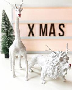 Christmas DIY or crafting: Giraffe and Lion animals | Kerst knutselsen: Creatief met dieren (leeuw en giraf) Lion, Leo, Lions