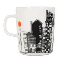 Marimekko's Siirtolapuutarha mug features Maija Louekari's cheerful pattern that depicts an urban summertime landscape. Marimekko's Siirtolapuutarha collection has a pleasant feel of nostalgia. Marimekko, Ceramic Tableware, Cheer Up, Good Company, Country Life, Scandinavian Design, Illustration, Summertime, Nostalgia