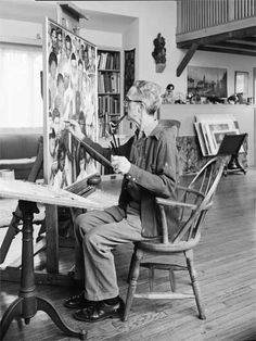 Norman Rockwell in his studio. Love this picture for Norman Rockwell. Peintures Norman Rockwell, Norman Rockwell Art, Norman Rockwell Paintings, Famous Artists, Great Artists, The Saturdays, American Artists, Art Studios, Artist At Work