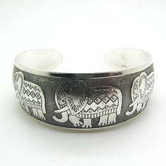 Stylish Elephant Tibetan Silver Totem Bangle Cuff Bracelet ($999) ❤ liked on Polyvore featuring jewelry and bracelets