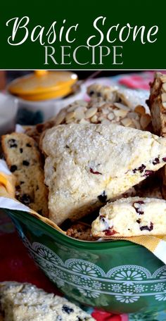 Freshl scones are a family favourite, and this Basic Scone Recipe allows you to customize to your tastes by adding chocolate, coconut, nuts, or dried fruit! Blueberry Scones Recipe, Dried Cherry Scone Recipe, Easy Cranberry Scones Recipe, Simple Scone Recipe, Yogurt Scones Recipe, Blackberry Scones, Rhubarb Scones, Best Scone Recipe, Cranberry Orange Scones