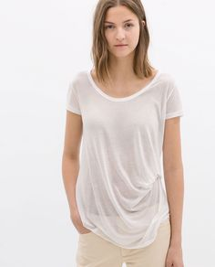 Image 1 of T-SHIRT WITH SIDE KNOT from Zara