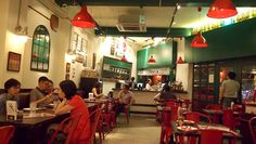 red and green restaurant interior