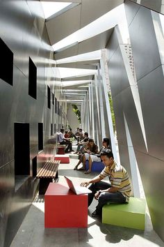 X-Block. Indian architects Planet 3 Studios Architecture have refurbished a warehouse to create new facilities at Vidyalankar Institute of Technology in Mumbai.