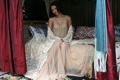 Ivory Dream Lace Robe Bridal Lingerie Wedding Sleepwear Angel Sleeve Ivory Lace Boudoir Trousseau Sarafina Dreams 2012 Bridal. $175.00, via Etsy.